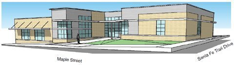 Artist's conception of how the Overbrook Library will look when construction and renovation are completed.