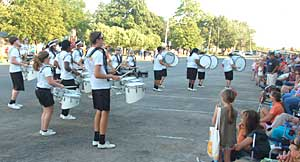 The Cruz Line Drum Band entertains the parade crowd at Melvern's Sunflower Days. Photo thanks to Larry Salisbury.