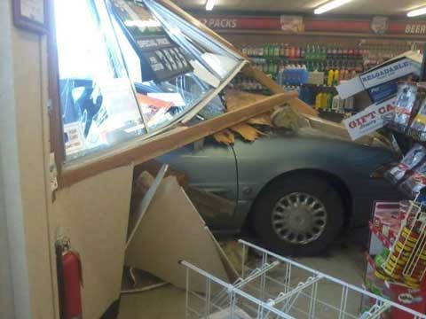 Interior of Casey's General Store, Osage City,after a car crashed through the wall. Photo thanks to Misty Armstrong