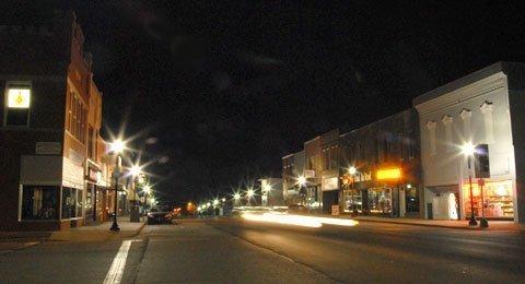 Lyndon downtown at night.