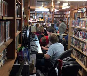Cramped Carbondale Library.