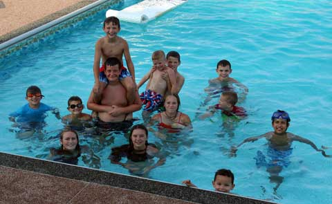 Lyndon Leaders members celebrate summer with a swim party.